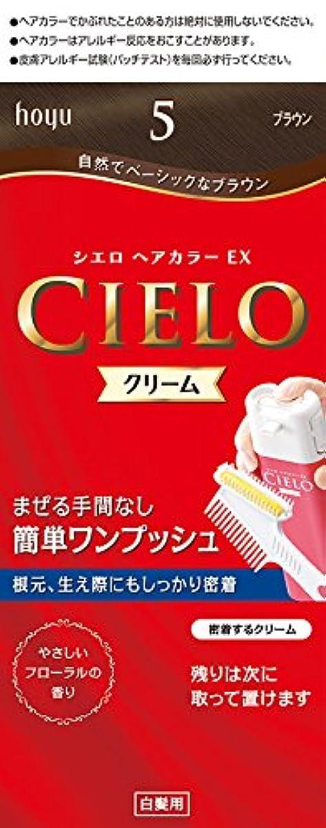 詳細なハミングバード邪魔するホーユー シエロ ヘアカラーEX クリーム5 (ブラウン) 1剤40g+2剤40g+手袋+ブラシ付