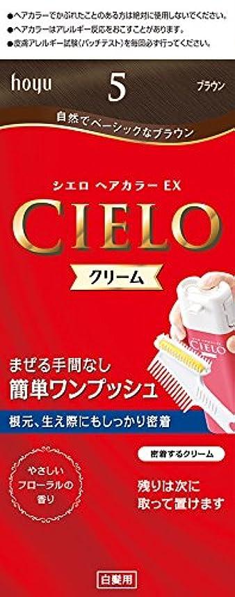愛する血疑問に思うホーユー シエロ ヘアカラーEX クリーム5 (ブラウン) 1剤40g+2剤40g+手袋+ブラシ付