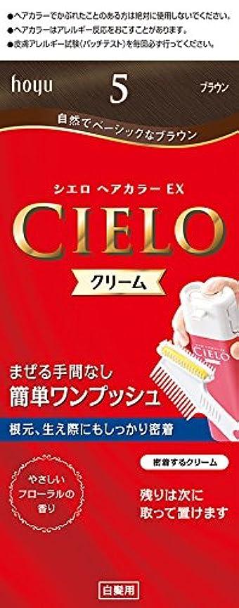ハンディキャップ分泌する容器ホーユー シエロ ヘアカラーEX クリーム5 (ブラウン) 1剤40g+2剤40g+手袋+ブラシ付