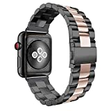 Aottom Compatible for Apple Watch Band 38mm 40mm iWatch Series 5/4/3/2/1 Band Stainless Steel Sport Wristband Metal Bracelet Replacement Band for 38mm/40mm Apple Watch Series 5/4/3/2/1,Black/Rose Gold