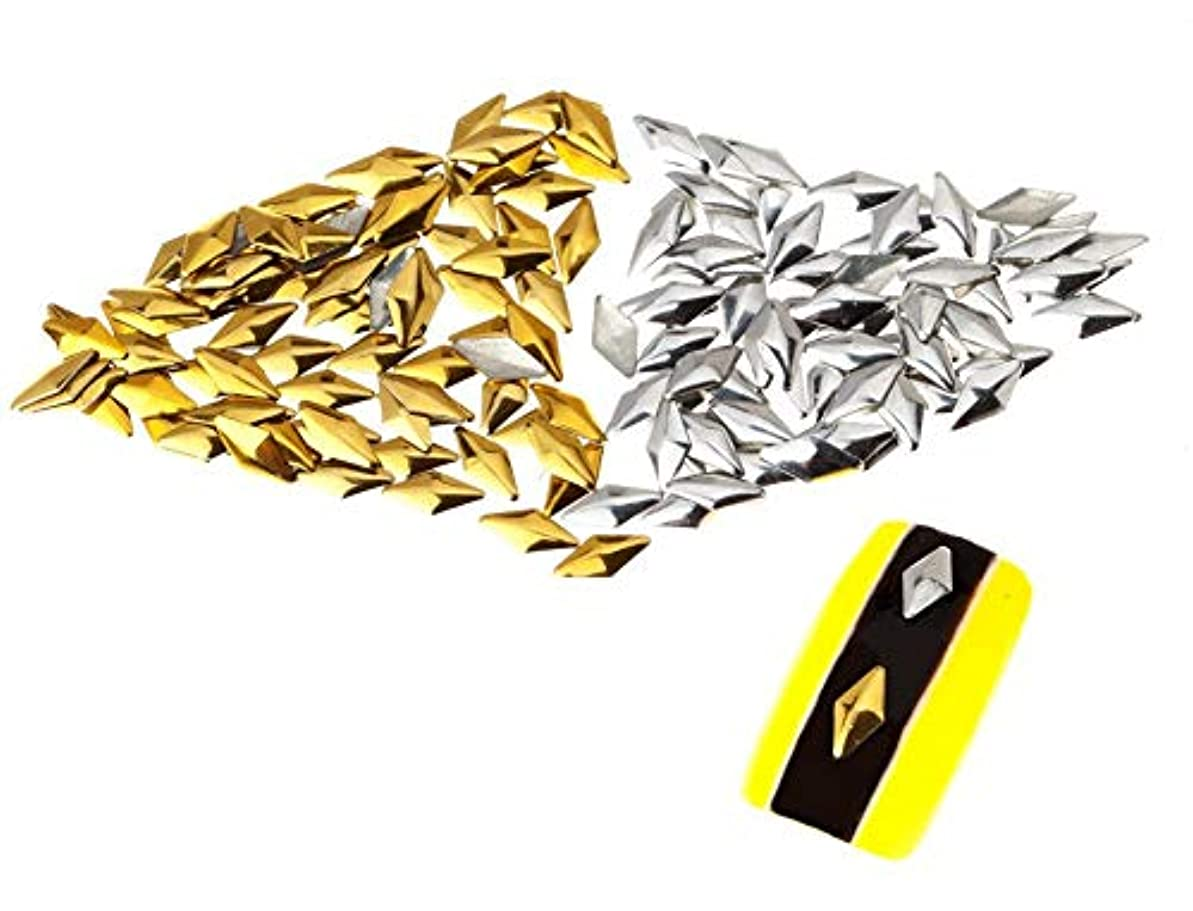 物語バタフライ対象250個の3mmシルバーおよびゴールドダイヤモンド型メタルスタッドマニキュアネイルアートデコレーションのプレミアムセット