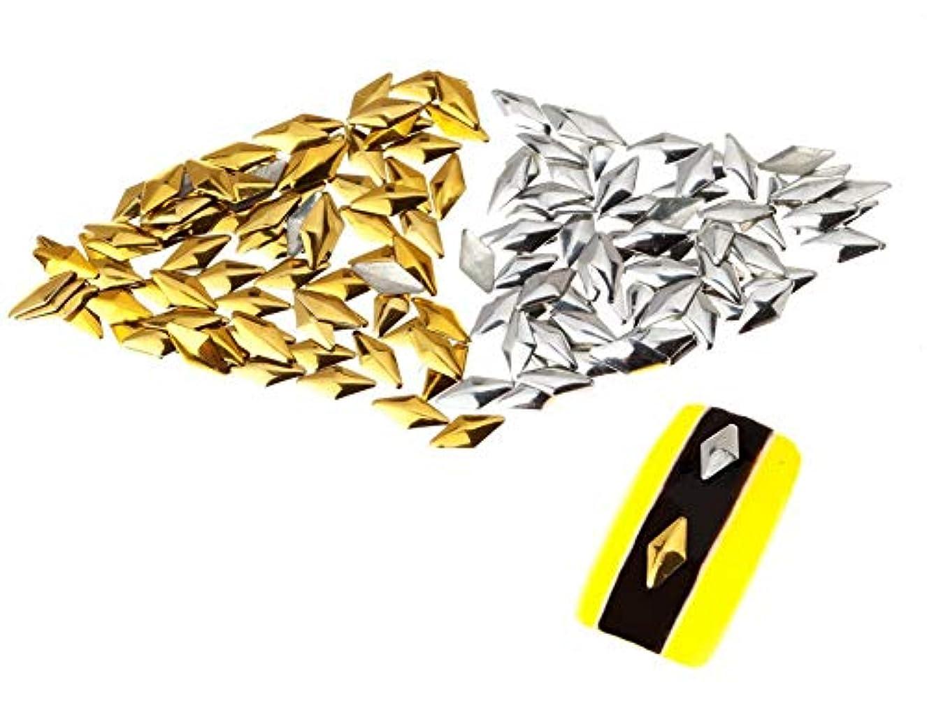 娘ソフトウェア熟読する250個の3mmシルバーおよびゴールドダイヤモンド型メタルスタッドマニキュアネイルアートデコレーションのプレミアムセット