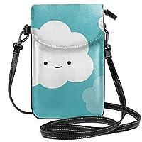 携帯電話バッグ 可愛い 白い雲 女性 ミニポーチ 化粧品小物入れ 軽量 おしゃれ プレゼント