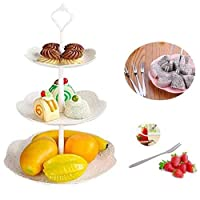 Candy Buffetスタンド、Platic 3-tierフルーツプレートケーキデザートプレートスタンドwithフルーツフォークのウェディングイブニングパーティービュッフェ