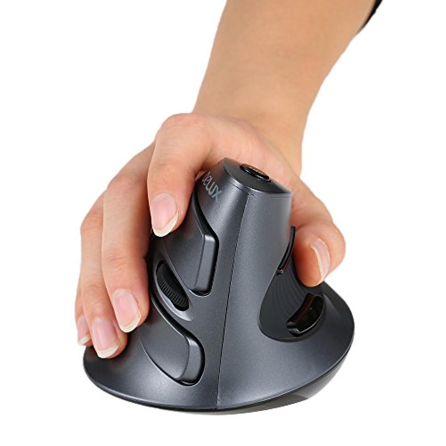 モザイク愛人追記KKmoon ワイヤレスマウス 垂直光学式マウス 2.4Gマウス マウス 1600 CPI/DPI調整可能 5Dボタン 取り外し可能なパームレスト付き