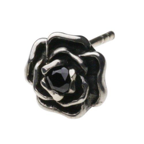 【セノーテ】 cenote e0426 【シルバーアクセサリー】 黒薔薇ピアス ブラックジルコニア