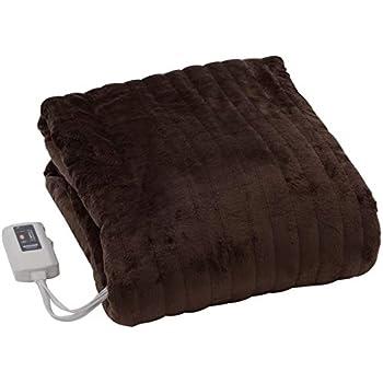 [山善] ふわふわもこもこ 電気掛・敷毛布 (丸洗い可能) 188×130cm 表面フランネル・裏面プードルタッチ仕上げ 室温センサー付 YMK-F43P(T) [メーカー保証1年]