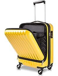 TABITORA(タビトラ)スーツケース 機内持込 トップオープン フロントオープン 人気 ビジネス 出張 レトロ キャリーケース 静音 超軽量 可愛い 旅行 出張 超軽 小型【安心一年】 (イェロー2代目)