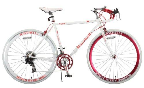 Raychell+(レイチェルプラス) ロードバイク 700C R+714 SunRise クロモリフレーム シマノ14段変速 フレームサイズ520mm・コイルワイヤー錠/前後シリコンLEDライト付属 ホワイト/レッド