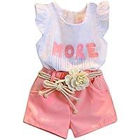 DaySeventh Girls' Cute Outfits Sleeveless T-Shirt+Shorts+Belt Clothes Set
