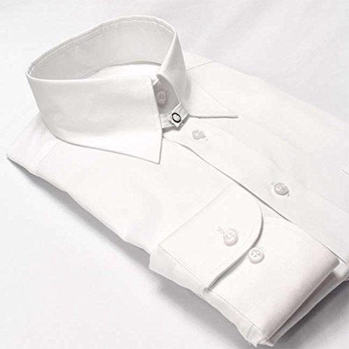 ワイシャツ メンズ長袖(ドレスシャツ)タブカラー ホワイト ピンオックス 軽井沢シャツ [A10KZZT22] 標準型
