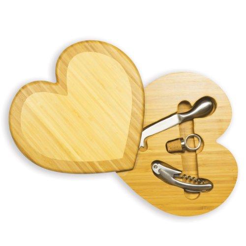 ワイン好きにギフトプレゼント。ハートチーズボード/チーズナイフ/ワイン栓/栓抜き