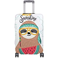 Mydaily Sloth Watermelon Hello Sunshine Luggage Cover Fits 18-32 Inch Suitcase Spandex Travel Protector Cover Only