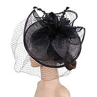 LilyAngel 女性エレガントな魅惑的な帽子は、フェイスブライダルの帽子の結婚式の花のヘアクリップアクセサリーをカバーカクテルロイヤルアスコットレディースデイ (Color : ブラック)