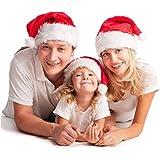 Turelifes クリスマスハット 2パック 高級 厚手 赤 ベルベットサンタ 白のカフス 大人と子供用