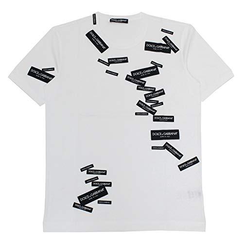 (ドルチェ&ガッバーナ)DOLCE&GABBANA ロゴチケットパッチ 半袖Tシャツ【ホワイト】G8IV0Z G7RJM W0800 [並行輸入品]