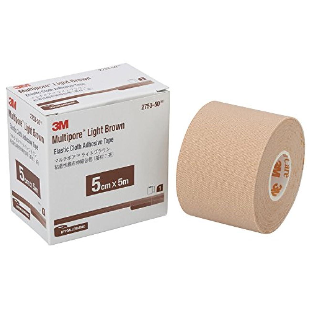場所疲労発掘3M 包帯 粘着性綿布伸縮 ライトブラウン 5cm幅x5m 1巻 マルチポア 2753-50