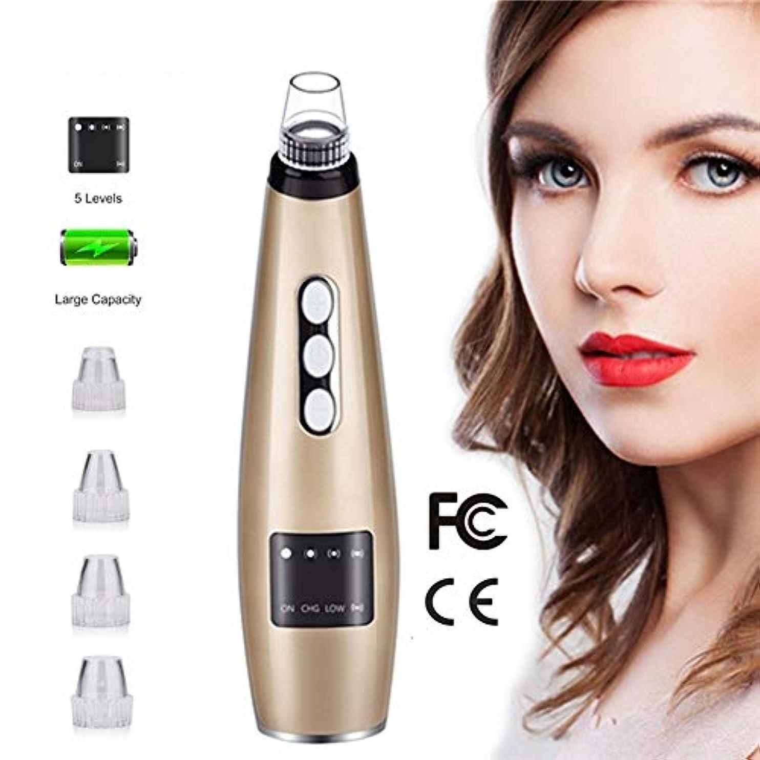 落ち着いて唇先のことを考える5吸引力の真空のにきびの除去剤の気孔の洗剤のアクネの抽出器用具LCDの表示表面剥離機械の美装置 (Color : Brown)