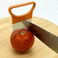LUOWANXIU キッチン道具 ステンレス鋼野菜のオニオンカッターホルダーミートニードルキッチンツール キッチン用 (色 : オレンジ)