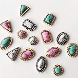 10個混合スタイル混合色古代の宝石ネイルアートの装飾に戻ります