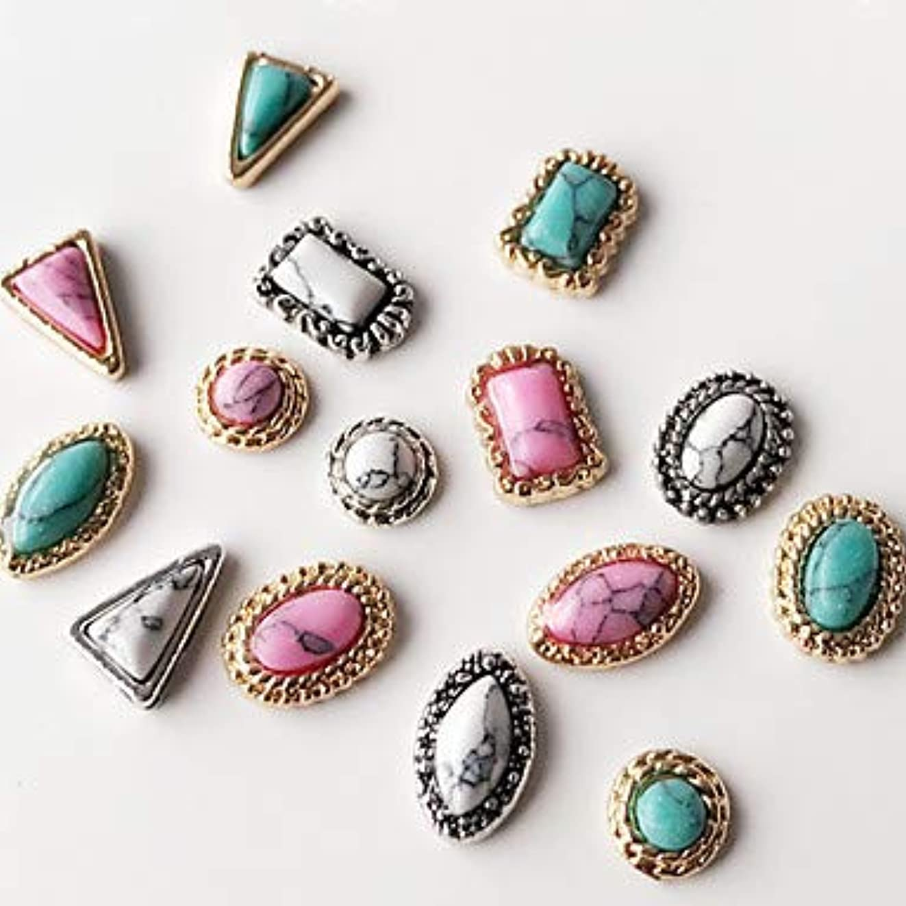 バングウィザード不公平10個混合スタイル混合色古代の宝石ネイルアートの装飾に戻ります