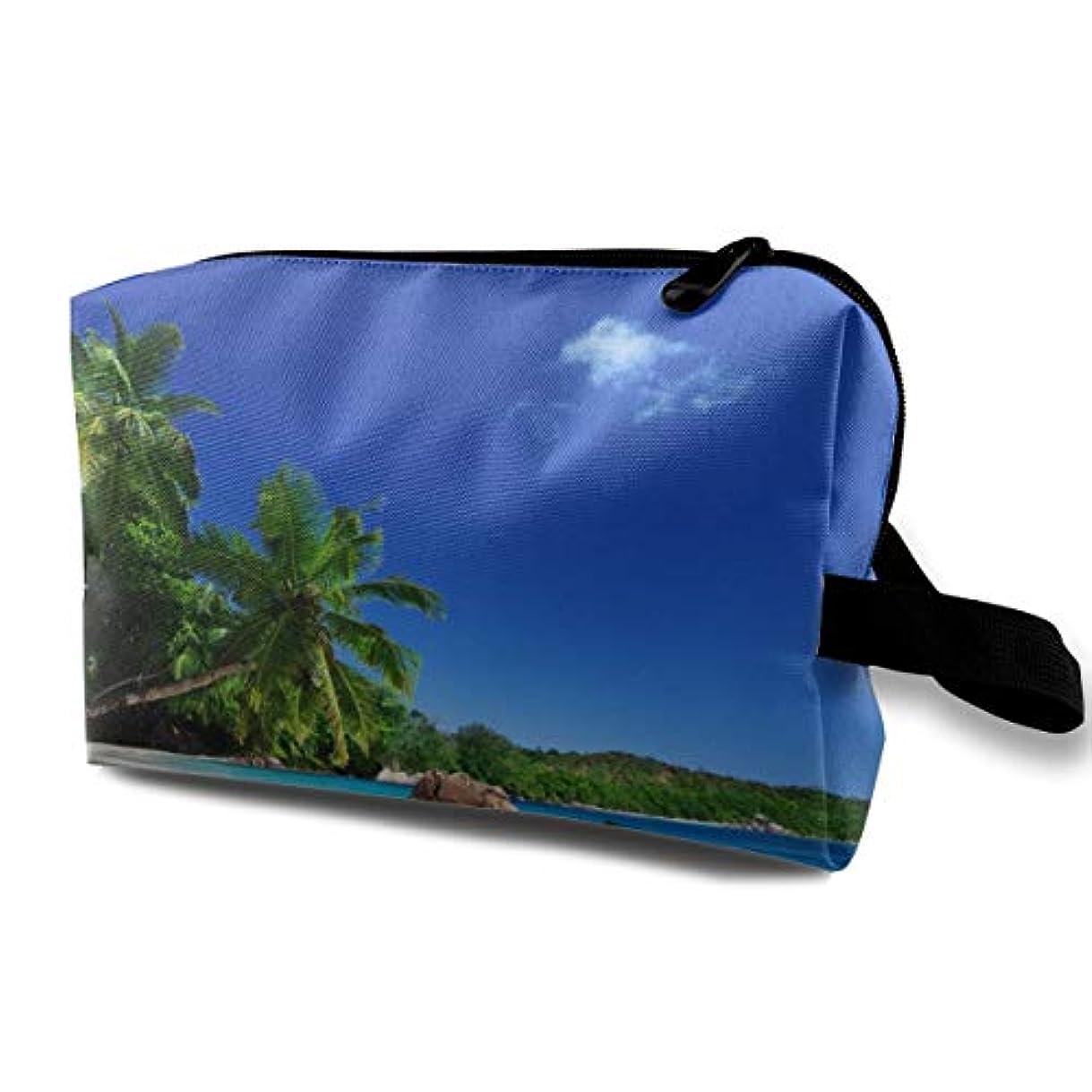 卑しい委任する原告Paradise Beach Sea Palm Trees 収納ポーチ 化粧ポーチ 大容量 軽量 耐久性 ハンドル付持ち運び便利。入れ 自宅?出張?旅行?アウトドア撮影などに対応。メンズ レディース トラベルグッズ