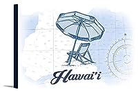 ハワイ–ビーチチェアと傘–ブルー–Coastalアイコン 36 x 24 Gallery Canvas LANT-3P-SC-70159-24x36