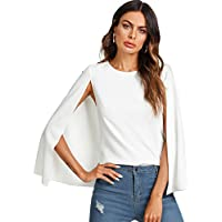 Romwe Women's Elegant Cape Cloak Sleeve Round Neck Party Top Blouse