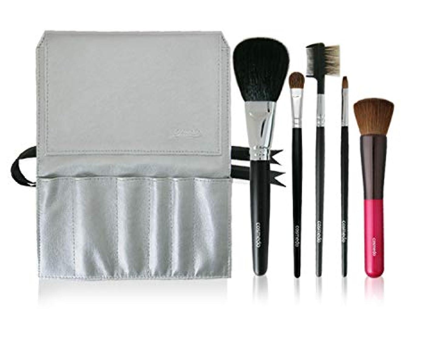 基本的な毛布スチール熊野筆 匠の化粧筆 コスメ堂 メイクブラシ スターターセット プラス (熊野筆 5本 + ブラシケース<シルバー> のセット)505-C04K-S