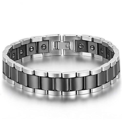 JewelryWe 중요한 사람이나,그이・그녀(애인)에의 선물아쥬반 VANT)Re:쥬얼리 패션 악세사리 맨즈 팔찌,체인 팔찌,마그넷 세라믹 스테인레스,컬러아쥬반 VANT)Re:실버(은);블랙-
