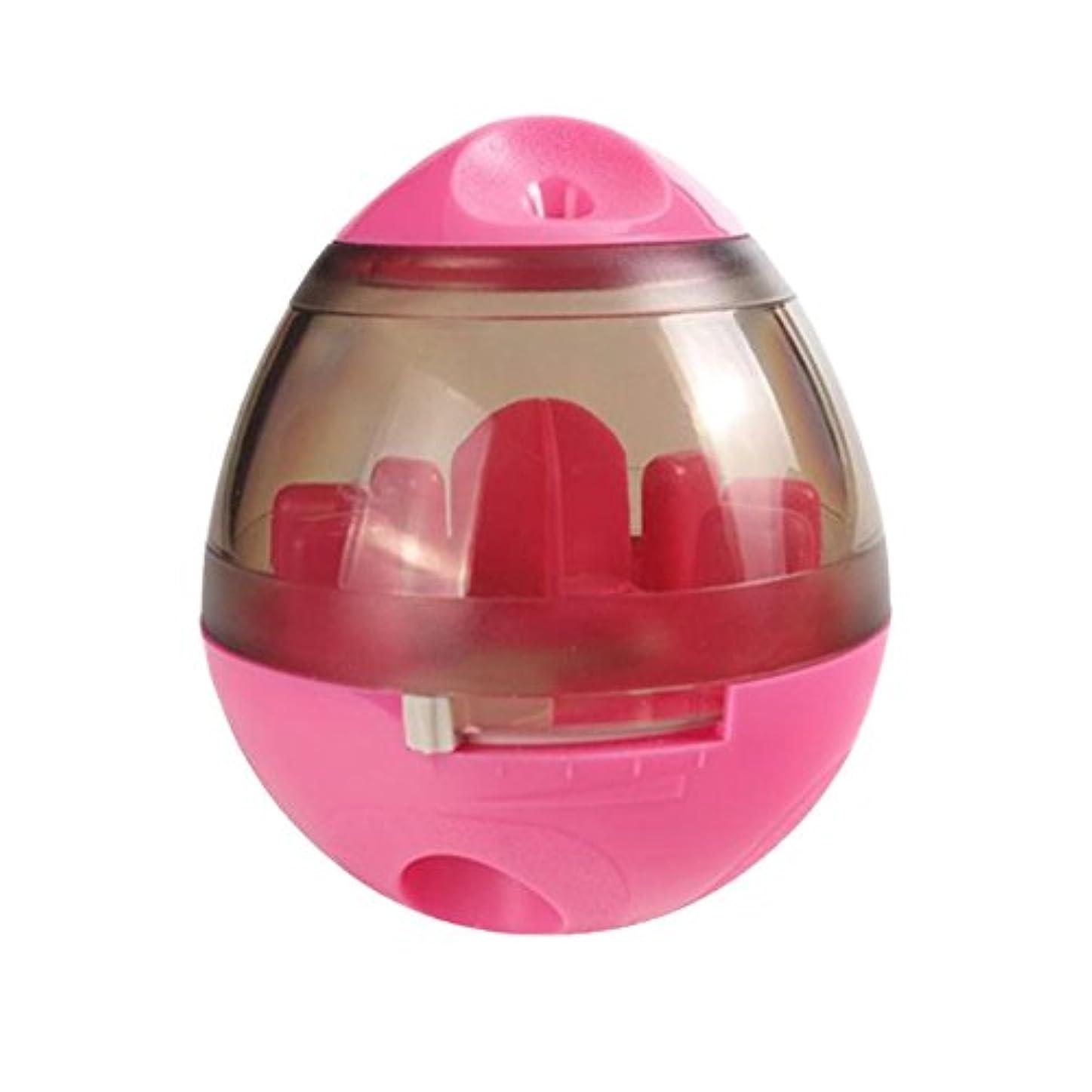 SellKuo ペットおもちゃ だるまボール 食器 餌入れ おやつボール ゴロゴロ 倒れない 運動不足対策 ストレス解消 小/中/大型犬 猫ちゃん (ピンク)