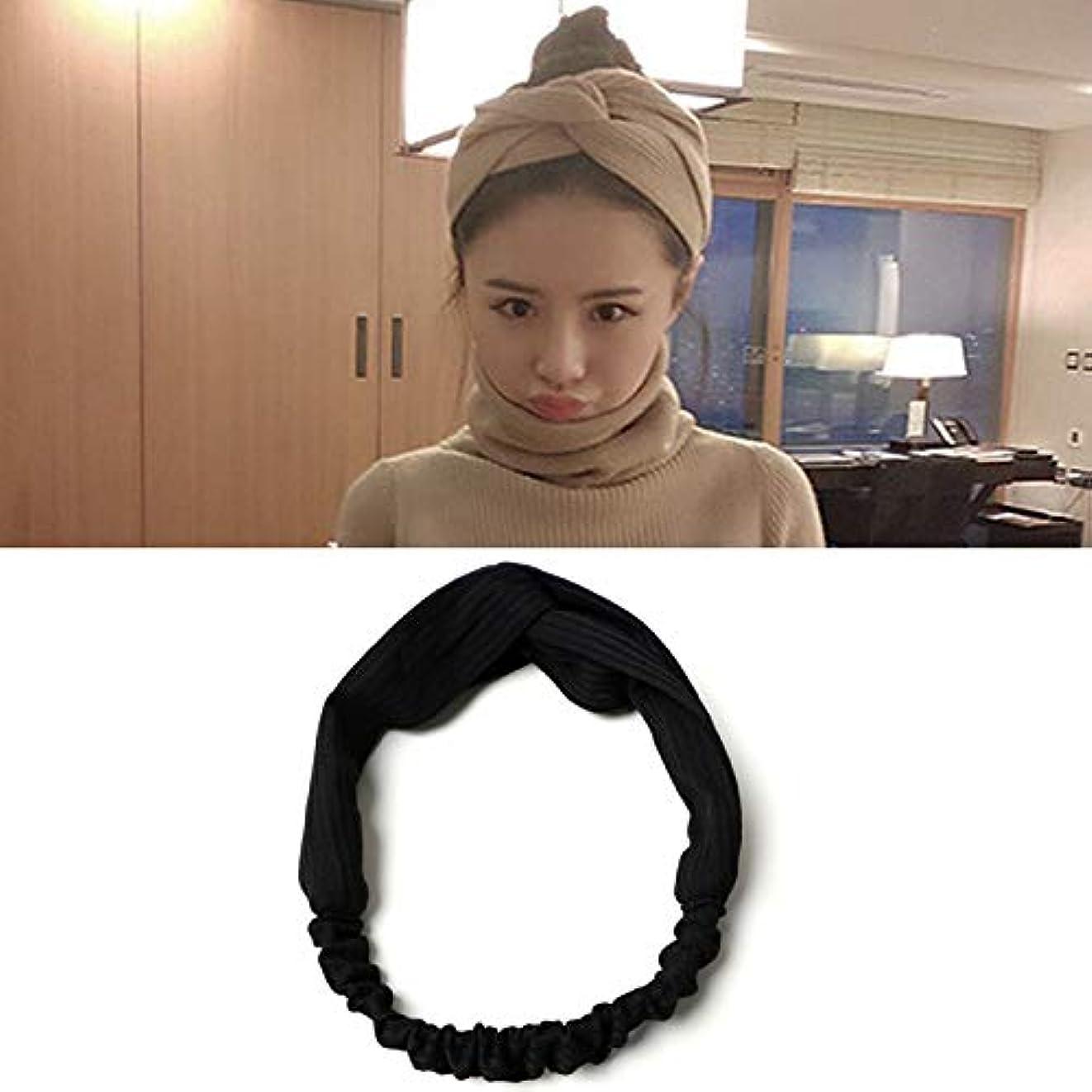 廃棄する義務付けられたひもHairpinheair YHM 5ピース髪飾り布結び目ヘアバンドクロスヘッドバンドランダム配信 (色 : Black)