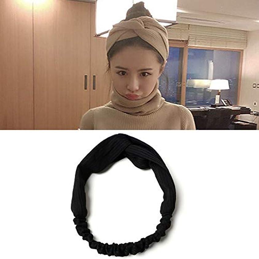 ベテラン安全性衰えるHairpinheair YHM 5ピース髪飾り布結び目ヘアバンドクロスヘッドバンドランダム配信 (色 : Black)
