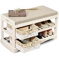 (イタリアスタイルの靴スツール) - 多機能の木製収納靴箱、居間コリドールバルコニーベッドルーム靴収納靴靴ベンチ (色 : Brown, サイズ さいず : 70.8*28*42CM)