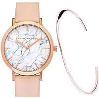 【クリスチャンポール】christianpaul 腕時計 MARBLE 43mm 本革マーブル (BONDI) レディース 腕時計 JWバングルセット ローズゴールド[並行輸入品]