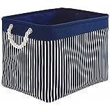 TcaFmac Large Rectangular Nautical Baskets for Storage, Decorative Canvas Closet Storage Bins Organizing Baskets for Shelves,