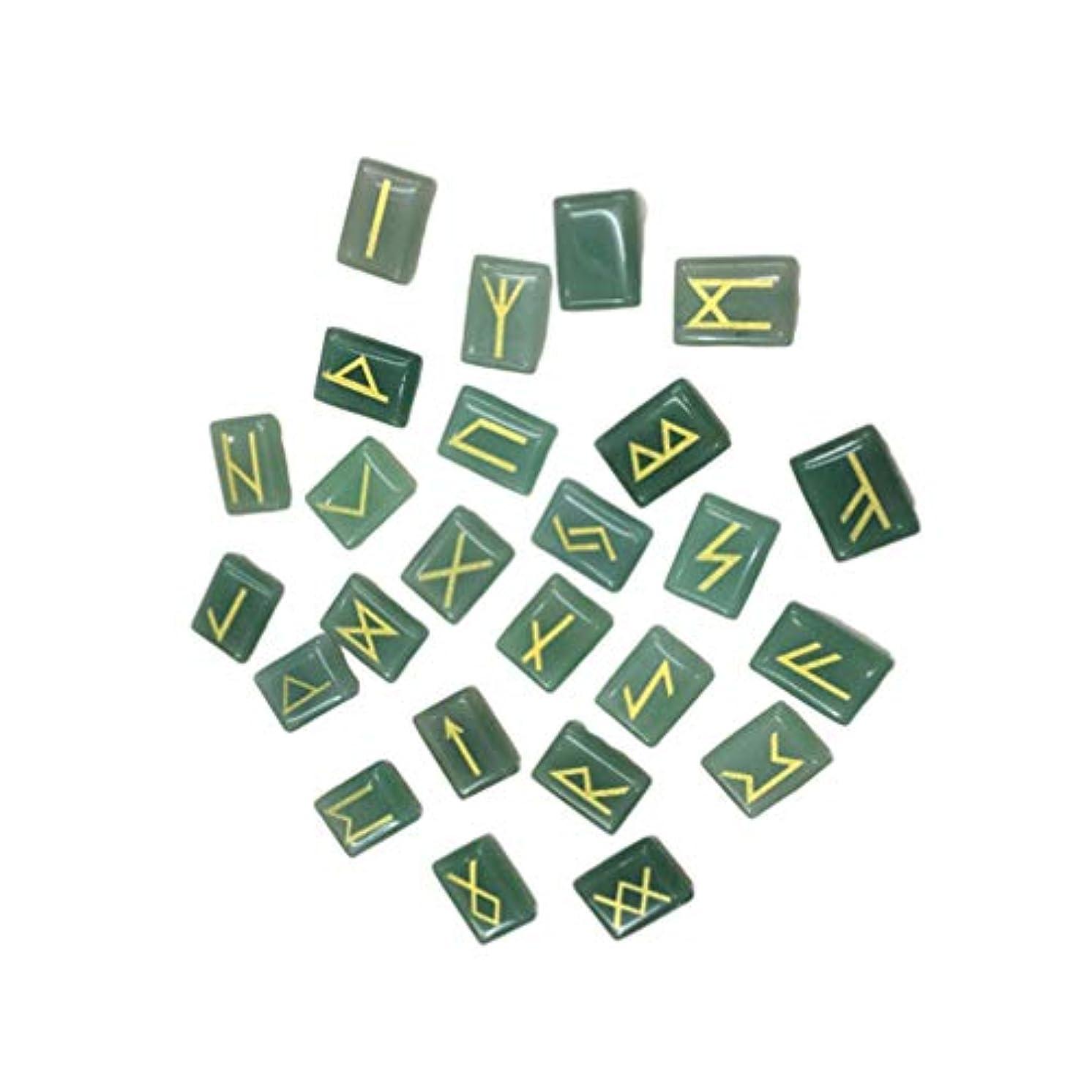 幸運なことに付録ウサギVosarea 25ピース刻まれたルーン石ペンダントナチュラルレタリングタンブルクリスタル刻まれたロックdiyギフトジュエリー作り