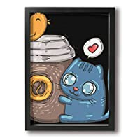 ホワイトサン 猫 鳥 カップ ハート フォトフレーム A4 フレーム 壁掛け 壁アート 装飾画 壁飾り インテリア 部屋飾り アート ファション 装飾 枠付き 壁絵 現代壁の絵 絵 プレゼント ポスター アートフレーム パネル