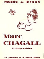 """MARC CHAGALL Musee de Brest 25"""" x 18.75"""" Poster 1969 Modernism Red, White"""