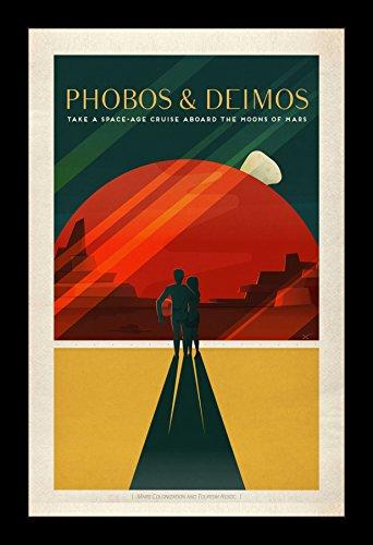 スペースX Mars :フォボス&観光Deimos–11x 17Framedスペースポスターby Wallspace