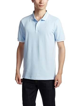 (ジョルダーノ)GIORDANO スモールライオン刺繍ポロシャツ半袖 01012501 45 45 - Bleached Blue x C. White S