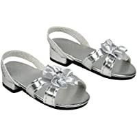 Sophia's Silver 18 Inch Doll High Heels, Fits 18 Inch American Dolls & More! Doll Shoe Heels W/ Flower & Jewel. SHH-SL