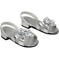 Sophia's Silver 18 Inch Doll High Heels, Fits 18 Inch American Dolls & More! Doll Shoe Heels W/ Flower & Jewel. SHH-SL