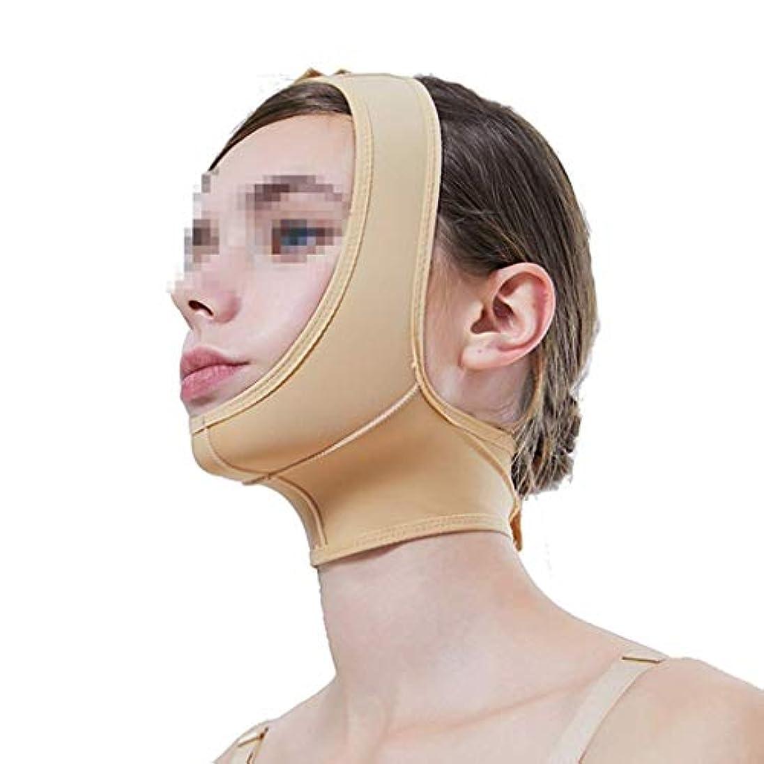 瞑想するレザーライド弾性の薄いフェイスフード、下顎スリーブ術後の弾性スリーブのフェイスVフェイスマスク付きの薄いダブルチンビーストバーマルチサイズオプション(サイズ:M)