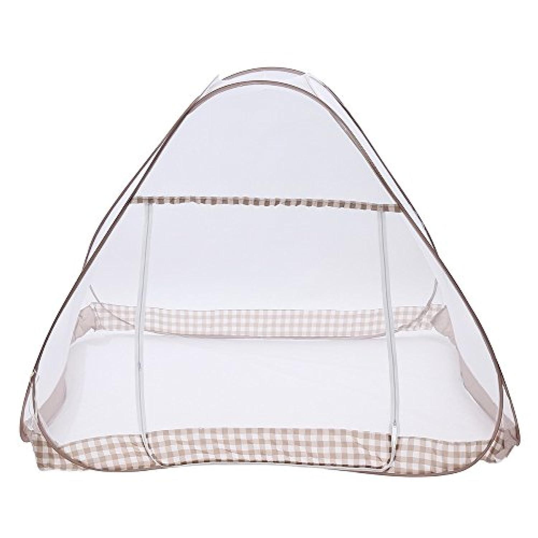 蚊帳 持ち運べる たためる 洗える ポータブル モスキート テント 大型 ダブルサイズ 底網 しっかり チェック柄 開閉ダブルジップ (Harvestmart)