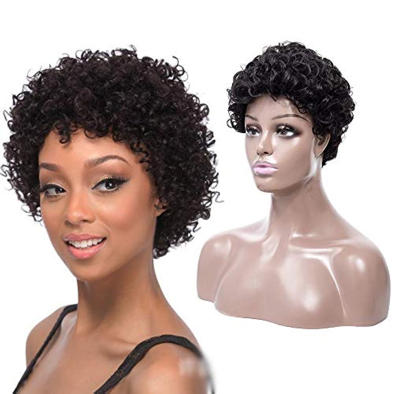 解放コンサート名義でYOUQIU 女性1B#ナチュラルブラックウィッグアフリカ黒ショートボブウィッグナチュラルショートカーリーウィッグ (色 : 黒)