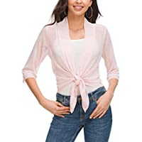 ZHENWEI Women's Chiffon Open Front 3/4 Sleeve Cover up Blouse Sheer Shrug Comfortable Breathable Thin Cardigan