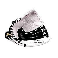 """野球用手袋、ホームラン野球用手袋、ソフトレザーの厚さのインフィールドピッチャー用ソフトボール手袋、赤+黒(サイズ、9.5"""") (Color : White, Size : 9.5 inches)"""