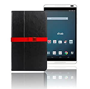 LOE(ロエ) ファーウェイ Huawei MediaPad M1 8.0 (ドコモ docomo dtab d-01G  / Y!mobile 403HW) PUレザーケース (型番HMP528) 液晶保護フィルム付 (ブラック)