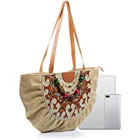 Women's Casual Embroidered Canvas Tote, Shoulder Bag, Canvas Fabric with Thick and Dense Colors, Vintage Ethnic Style, Handmade Bead Chain Decoration, Large Capacity